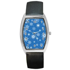 Winter Time And Snow Chaos Barrel Style Metal Watch by DinzDas