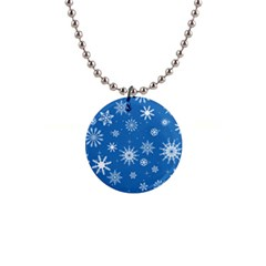 Winter Time And Snow Chaos 1  Button Necklace by DinzDas
