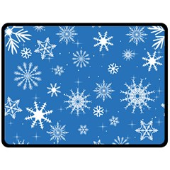 Winter Time And Snow Chaos Double Sided Fleece Blanket (large)  by DinzDas
