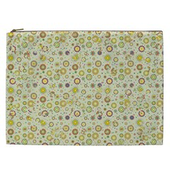Abstract Flowers And Circle Cosmetic Bag (xxl)