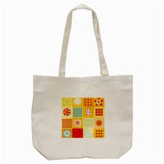 Abstract Flowers And Circle Tote Bag (cream) by DinzDas
