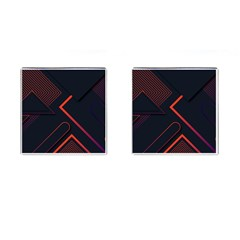 Gradient-geometric-shapes-dark-background-design Cufflinks (square) by Bejoart