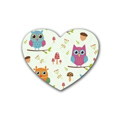 Forest-seamless-pattern-with-cute-owls Rubber Coaster (heart)