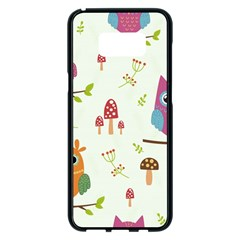 Forest-seamless-pattern-with-cute-owls Samsung Galaxy S8 Plus Black Seamless Case