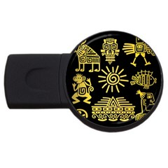Maya-style-gold-linear-totem-icons Usb Flash Drive Round (2 Gb) by Bejoart