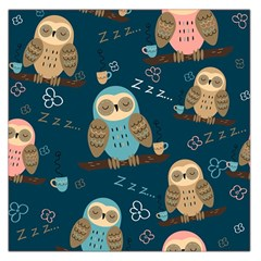 Seamless-pattern-owls-dreaming Large Satin Scarf (square)