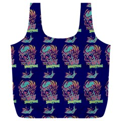 Jaw Dropping Horror Hippie Skull Full Print Recycle Bag (xxl) by DinzDas