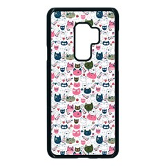 Adorable Seamless Cat Head Pattern01 Samsung Galaxy S9 Plus Seamless Case(black)
