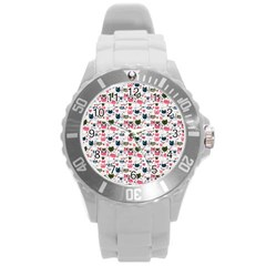 Adorable Seamless Cat Head Pattern01 Round Plastic Sport Watch (l)
