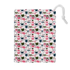 Adorable Seamless Cat Head Pattern01 Drawstring Pouch (xl) by TastefulDesigns