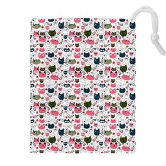 Adorable Seamless Cat Head Pattern01 Drawstring Pouch (2xl) by TastefulDesigns
