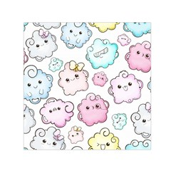 Cute-doodle-cartoon-seamless-pattern Small Satin Scarf (square)