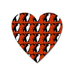 Bull In Comic Style Pattern - Mad Farming Animals Heart Magnet by DinzDas