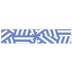 Geometric Blue And White Lines, Stripes Pattern Small Flano Scarf