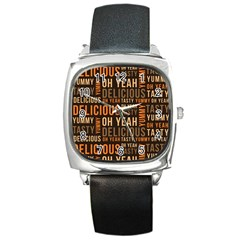 When Food Is Love Square Metal Watch by designsbymallika