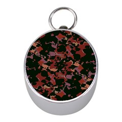Red Dark Camo Abstract Print Mini Silver Compasses