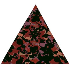 Red Dark Camo Abstract Print Wooden Puzzle Triangle