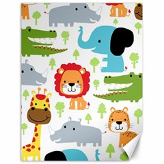 Seamless Pattern Vector With Animals Cartoon Canvas 18  X 24  by Bejoart