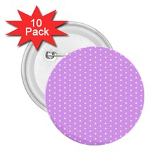 White Polka Dot Pastel Purple Background, Pink Color Vintage Dotted Pattern 2 25  Buttons (10 Pack)  by Casemiro