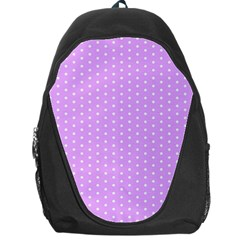 White Polka Dot Pastel Purple Background, Pink Color Vintage Dotted Pattern Backpack Bag by Casemiro