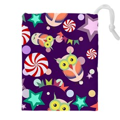 Owl Pattern Background Drawstring Pouch (5xl)