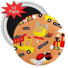 Seamless Pattern Cartoon With Transportation Vehicles 3  Magnets (10 Pack)