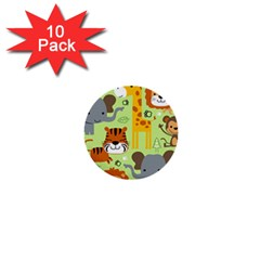 Seamless Pattern Vector With Animals Wildlife Cartoon 1  Mini Buttons (10 Pack)  by Bejoart