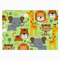 Seamless Pattern Vector With Animals Wildlife Cartoon Large Glasses Cloth