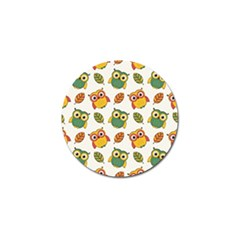 Background With Owls Leaves Pattern Golf Ball Marker by Bejoart