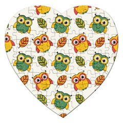 Background With Owls Leaves Pattern Jigsaw Puzzle (heart) by Bejoart