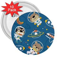 Seamless Pattern Funny Astronaut Outer Space Transportation 3  Buttons (10 Pack)
