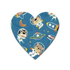 Seamless Pattern Funny Astronaut Outer Space Transportation Heart Magnet by Bejoart