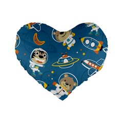 Seamless Pattern Funny Astronaut Outer Space Transportation Standard 16  Premium Heart Shape Cushions by Bejoart