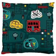 Seamless Pattern Hand Drawn With Vehicles Buildings Road Large Cushion Case (two Sides)