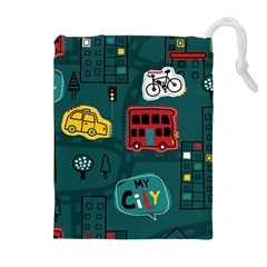 Seamless Pattern Hand Drawn With Vehicles Buildings Road Drawstring Pouch (xl)