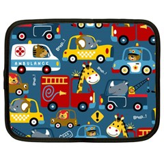 Seamless Pattern Vehicles Cartoon With Funny Drivers Netbook Case (xl) by Bejoart