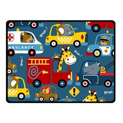 Seamless Pattern Vehicles Cartoon With Funny Drivers Fleece Blanket (small)