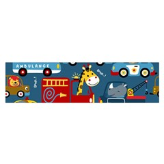 Seamless Pattern Vehicles Cartoon With Funny Drivers Satin Scarf (oblong)