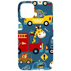 Seamless Pattern Vehicles Cartoon With Funny Drivers Iphone 11 Pro Black Uv Print Case