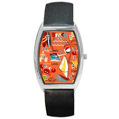 Seamless Pattern Vector Beach Holiday Theme Set Barrel Style Metal Watch