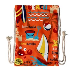 Seamless Pattern Vector Beach Holiday Theme Set Drawstring Bag (large)