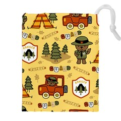 Seamless Pattern Funny Ranger Cartoon Drawstring Pouch (2xl) by Bejoart