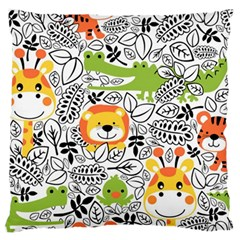 Seamless Pattern With Wildlife Cartoon Large Cushion Case (one Side)