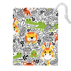 Seamless Pattern With Wildlife Cartoon Drawstring Pouch (3xl)