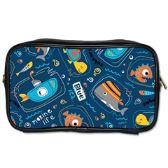 Seamless Pattern Vector Submarine With Sea Animals Cartoon Toiletries Bag (one Side)