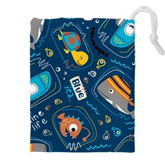 Seamless Pattern Vector Submarine With Sea Animals Cartoon Drawstring Pouch (3xl)