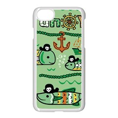 Seamless Pattern Fishes Pirates Cartoon Iphone 8 Seamless Case (white)
