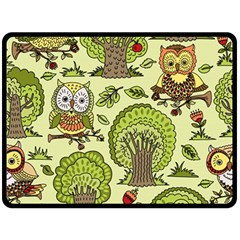 Seamless Pattern With Trees Owls Double Sided Fleece Blanket (large)