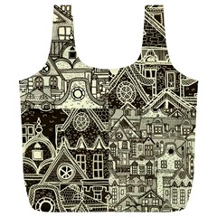 Four Hand Drawn City Patterns Full Print Recycle Bag (xl)