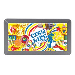 Colorful City Life Horizontal Seamless Pattern Urban City Memory Card Reader (mini) by Bejoart